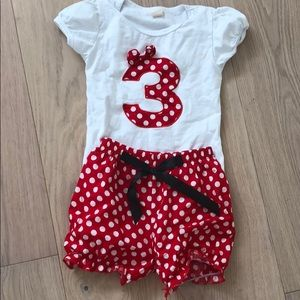 Three-year-old birthday Minnie mouse outfit
